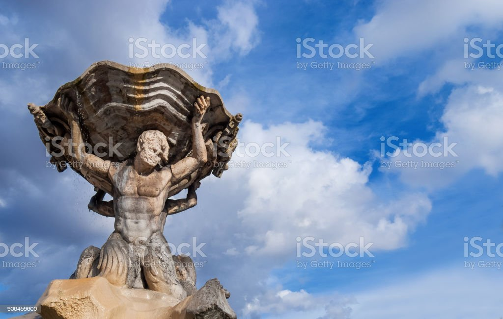 Fountain of the Tritons in Rome stock photo