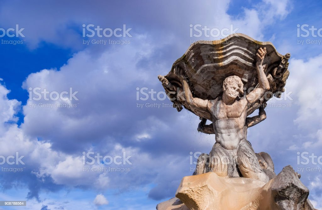 Fountain of the Tritons in Rome (with clouds) stock photo