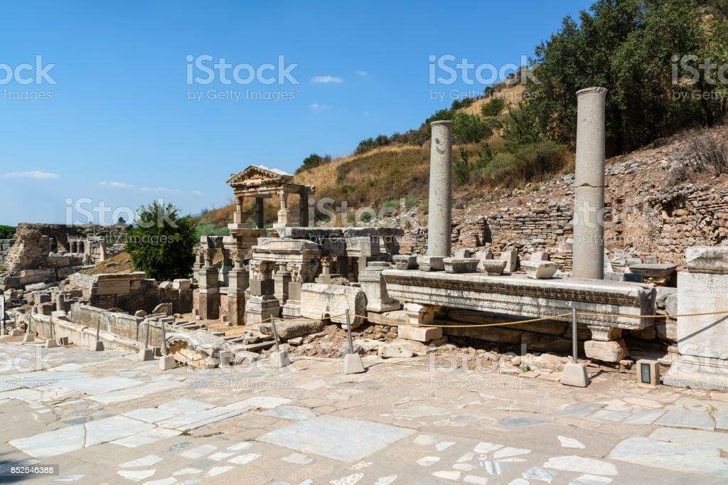 Fountain of Trajan, Nymphaeum Traiani, in Ephesus ancient city, Selcuk, Turkey. stock photo