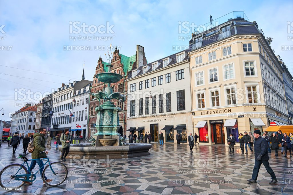 Fountain on a central square in Copenhagen stock photo