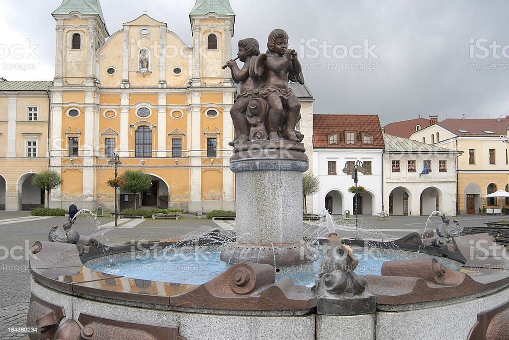 fountain on Marianske square stock photo