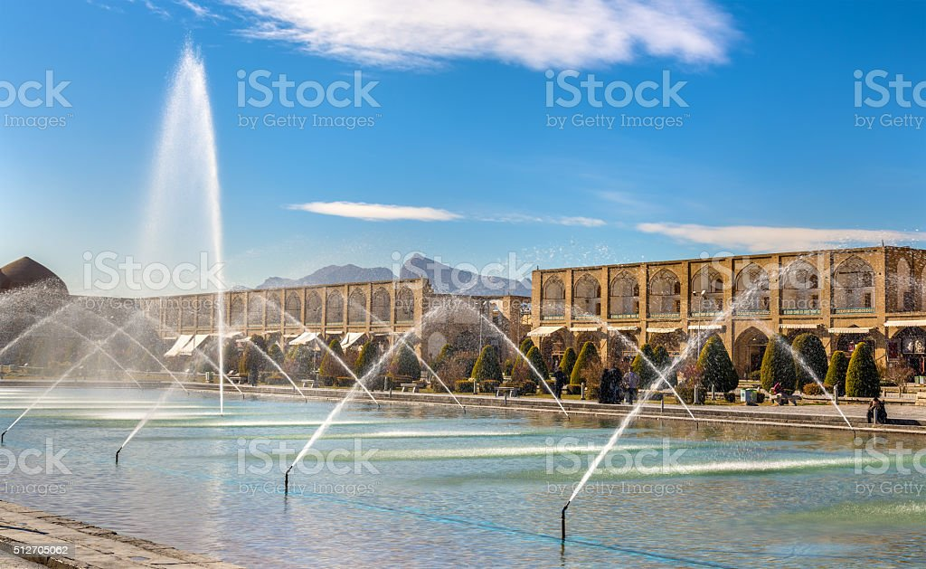Fountain on Naqsh-e Jahan Square in Isfahan - Iran stock photo