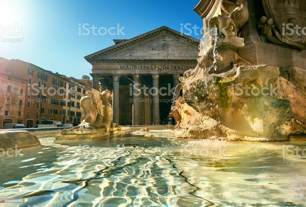 Fountain on Piazza della Rotonda with Parthenon behind, Rome, Italy stock photo