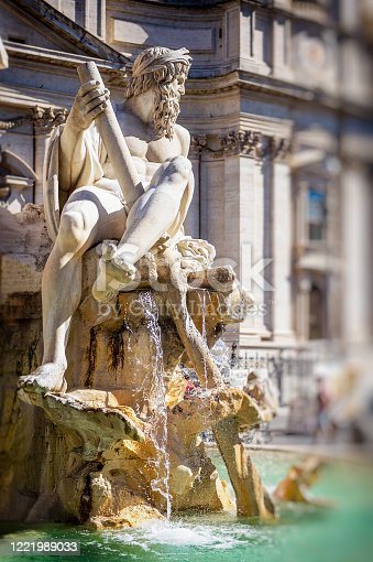 fountain on Piazza Navona in Rome, Italy. Popular tourist place