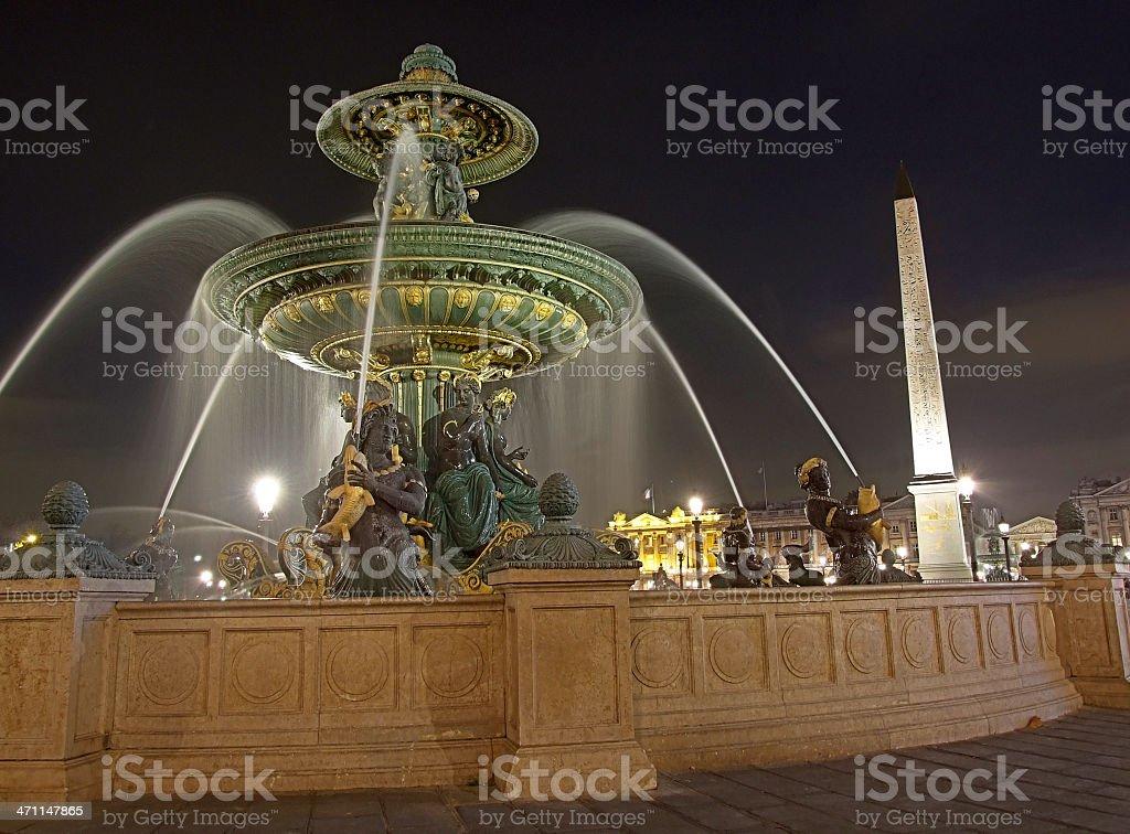 Fountain on Place de la Concorde, Paris royalty-free stock photo