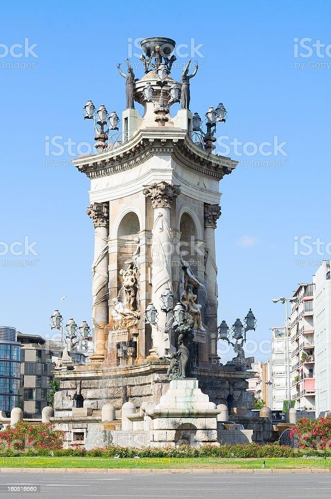 fountain on Plaza de Espana, Barcelona royalty-free stock photo