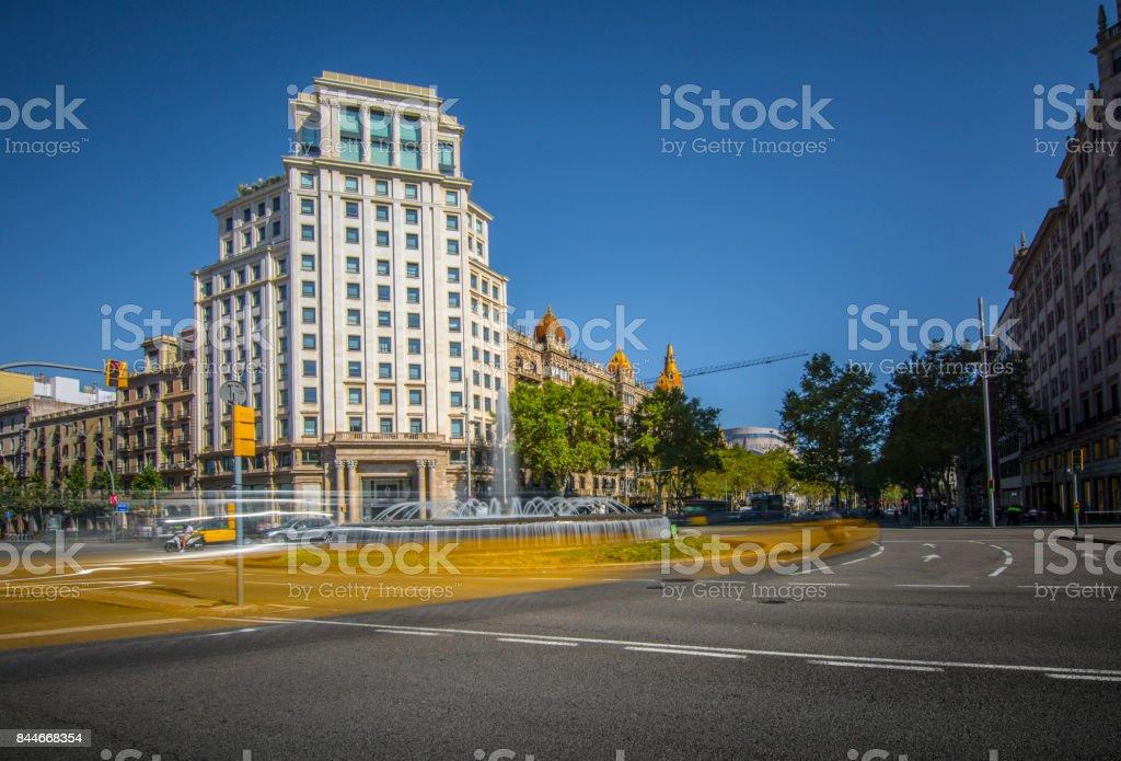 Fountain on the Passeig de Gracia. Barcelona stock photo