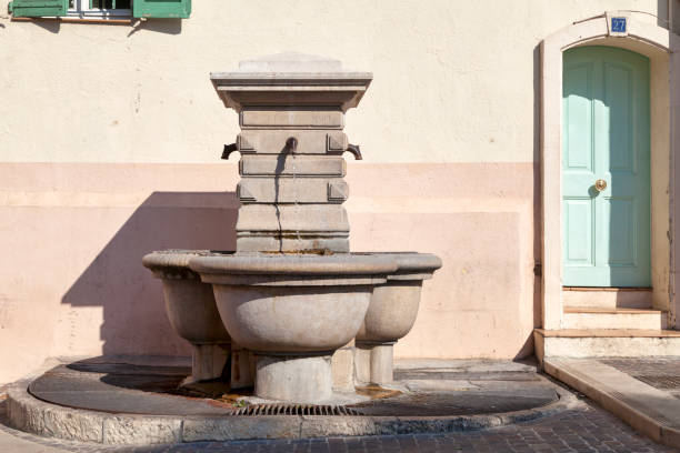 Fountain on the Place du Suquet in Cannes stock photo