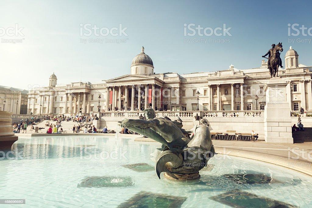 fountain on the Trafalgar Square, London, UK stock photo