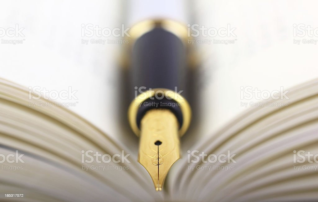 Fountain pen and book stock photo