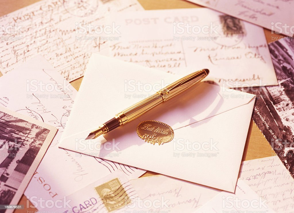fountain pen and letter stock photo