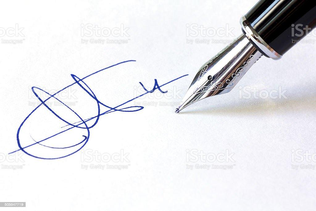 Fountain Pen and Signature stock photo