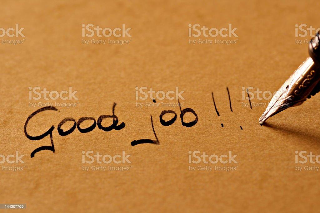 A fountain pen and the words good job Nachricht an den ... Admiration Stock Photo