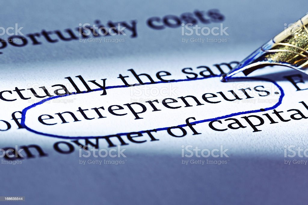 """Fountain pen circles word """"entrepreneurs"""" in business document royalty-free stock photo"""