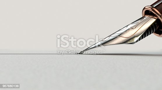 istock Fountain Pen Drawing Line 957680136