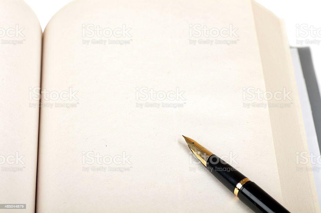 fountain pen lies in an open book stock photo