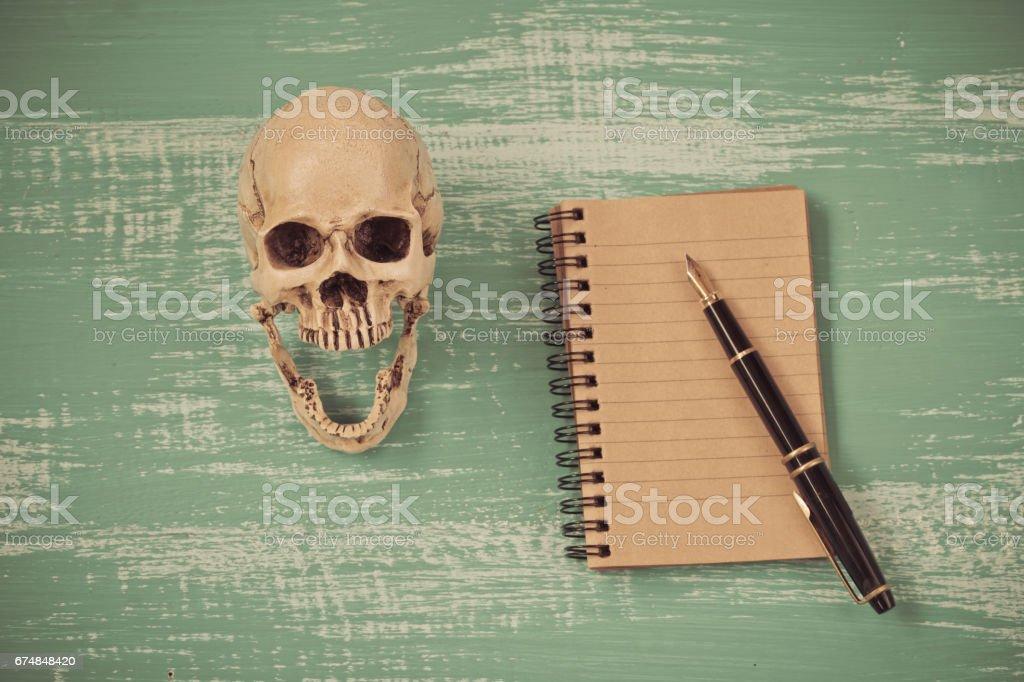 fountain pen on book and old skullon wood ,vintage tone stock photo