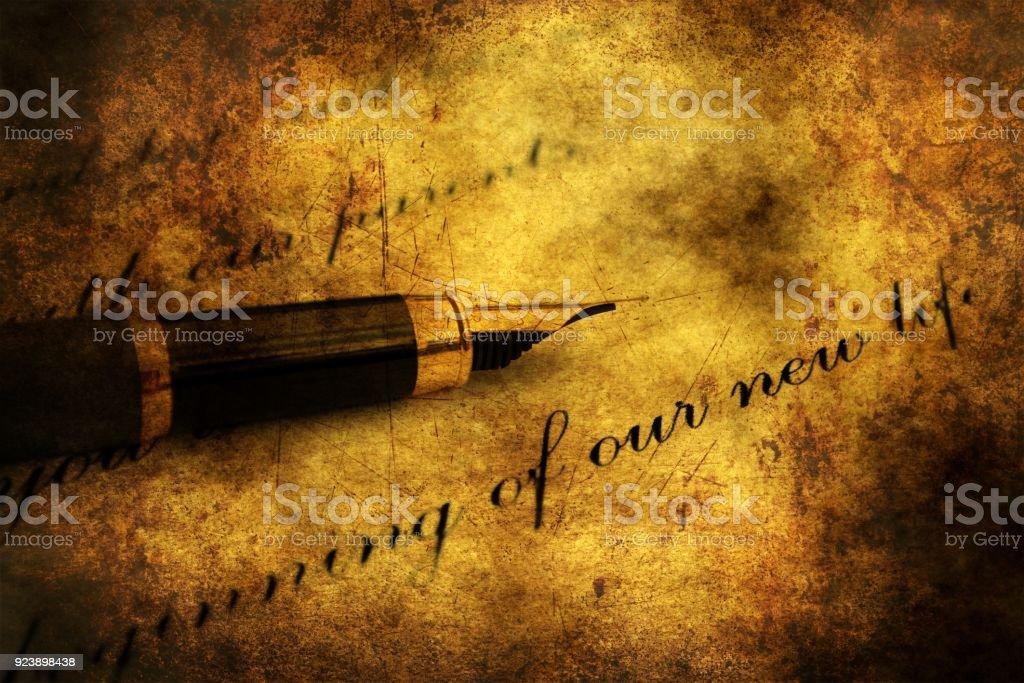 Fountain pen on love letter stock photo