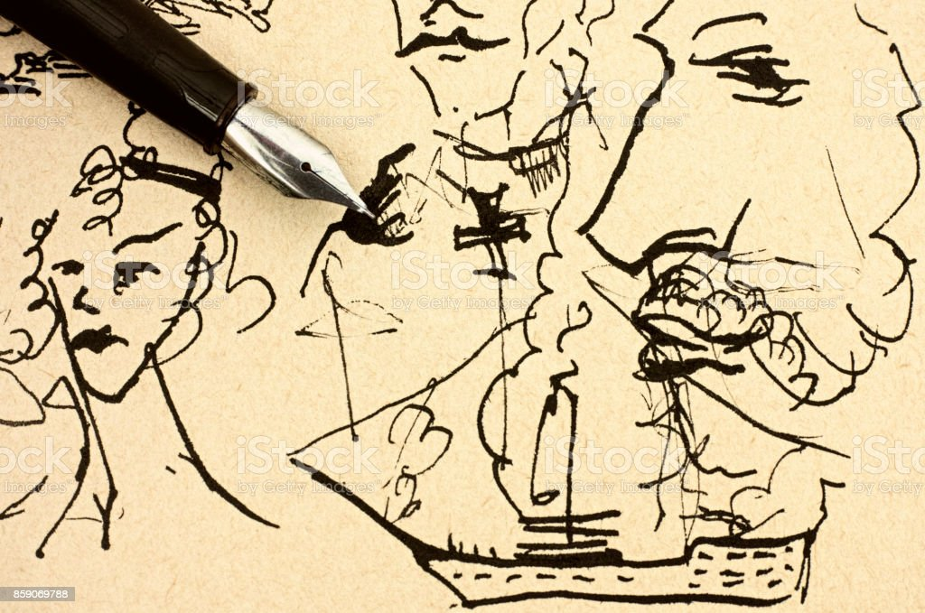 Fountain pen on old paper with ink hand drawing sample. stock photo