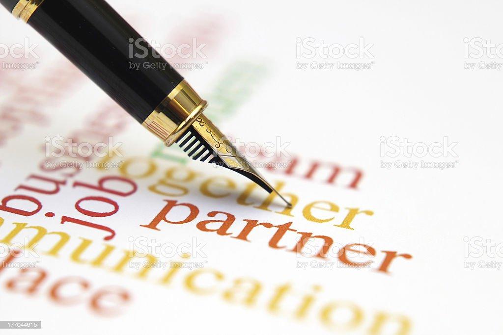 Fountain pen on partner stock photo