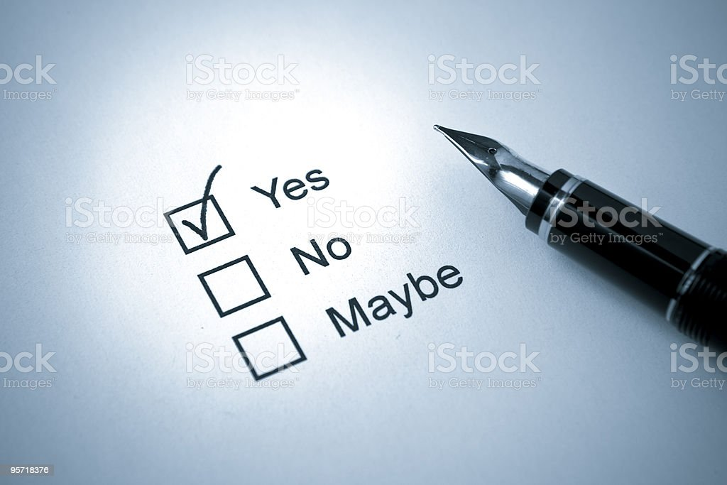 Fountain Pen on Survey with Yes No Maybe Check Box royalty-free stock photo