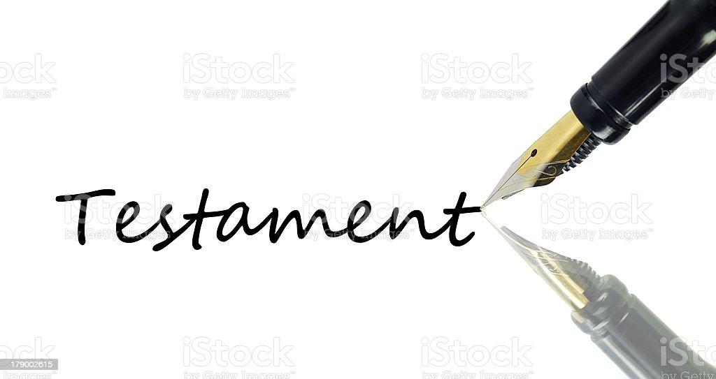 Fountain pen reflecting its mirror image on white background stock photo