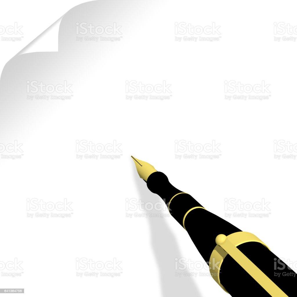 caneta-tinteiro folha - foto de acervo