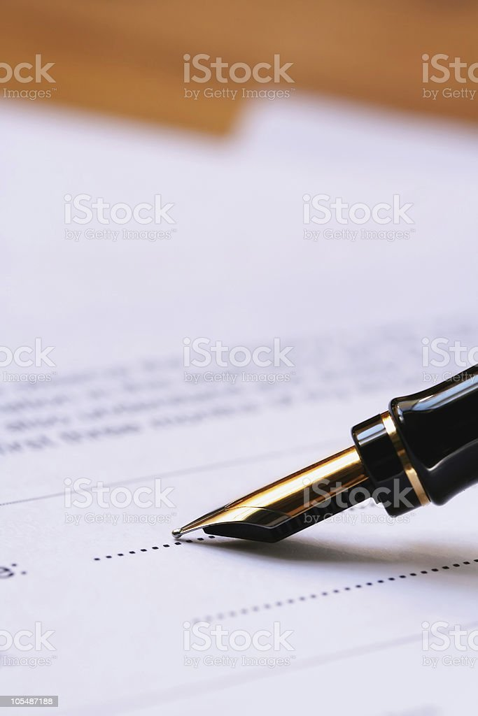 Fountain Pen Signing Document royalty-free stock photo