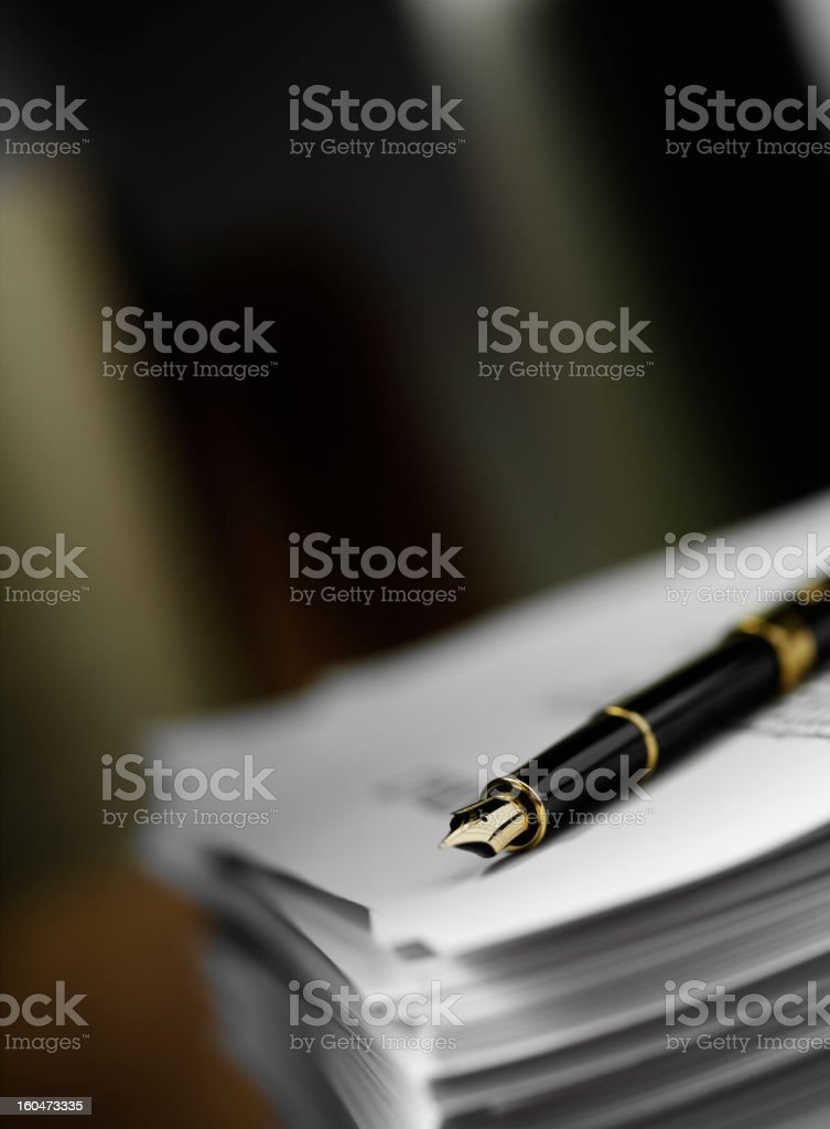 Fountain Pen to Paper stock photo
