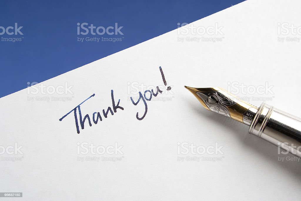 Fountain Pen with Thank You Note royalty-free stock photo