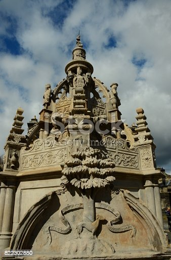 An ornate fountain in Linlithgow