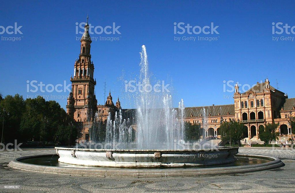 Fountain, Plaza de Espana, Sevilla Spain,  Nobody royalty-free stock photo