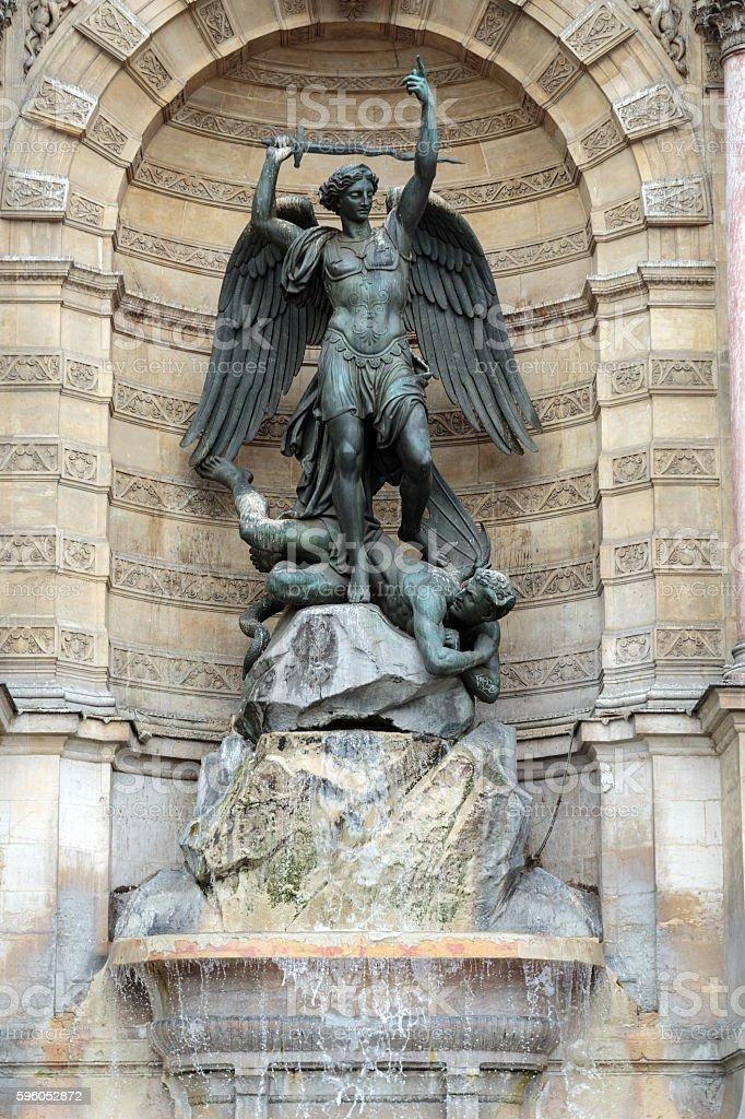 Fountain Saint Michel in Paris stock photo