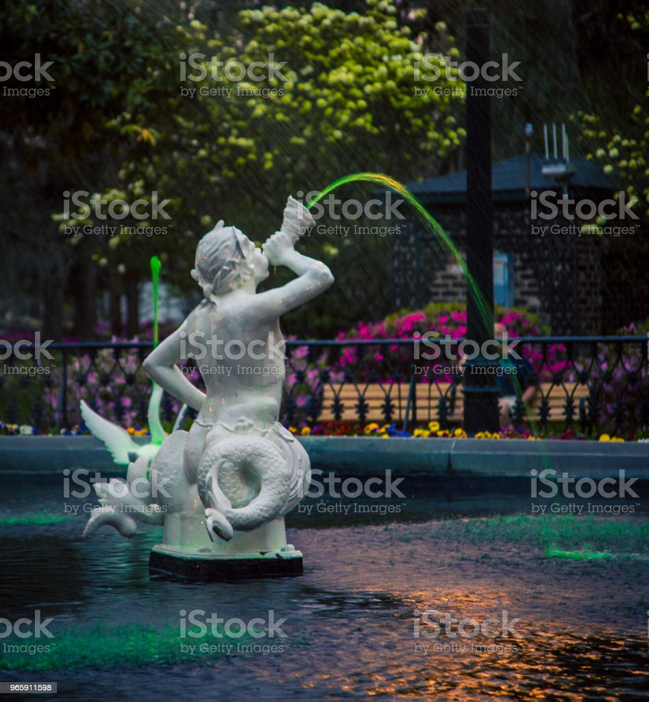 Fontein Savannah op St Patrick dag - Royalty-free Architectuur Stockfoto