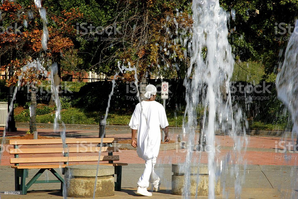 fountain scene - man royalty-free stock photo