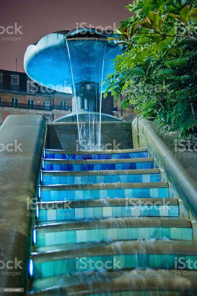 Fountain, Sheffield City Centre UK at night stock photo