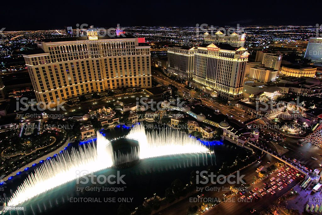 Fountain show at Bellagio hotel and casino at night stock photo