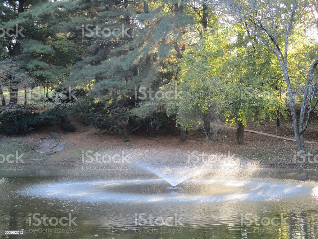 Fountain Spraying Water in a Pond in a Park royalty-free stock photo