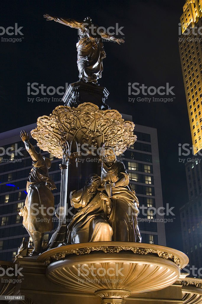 Fountain Square, nocturnal stock photo