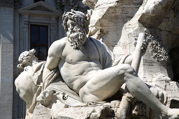 Zeus auf Berninis Brunnen, der Piazza Navona in Rom, Italien – Foto