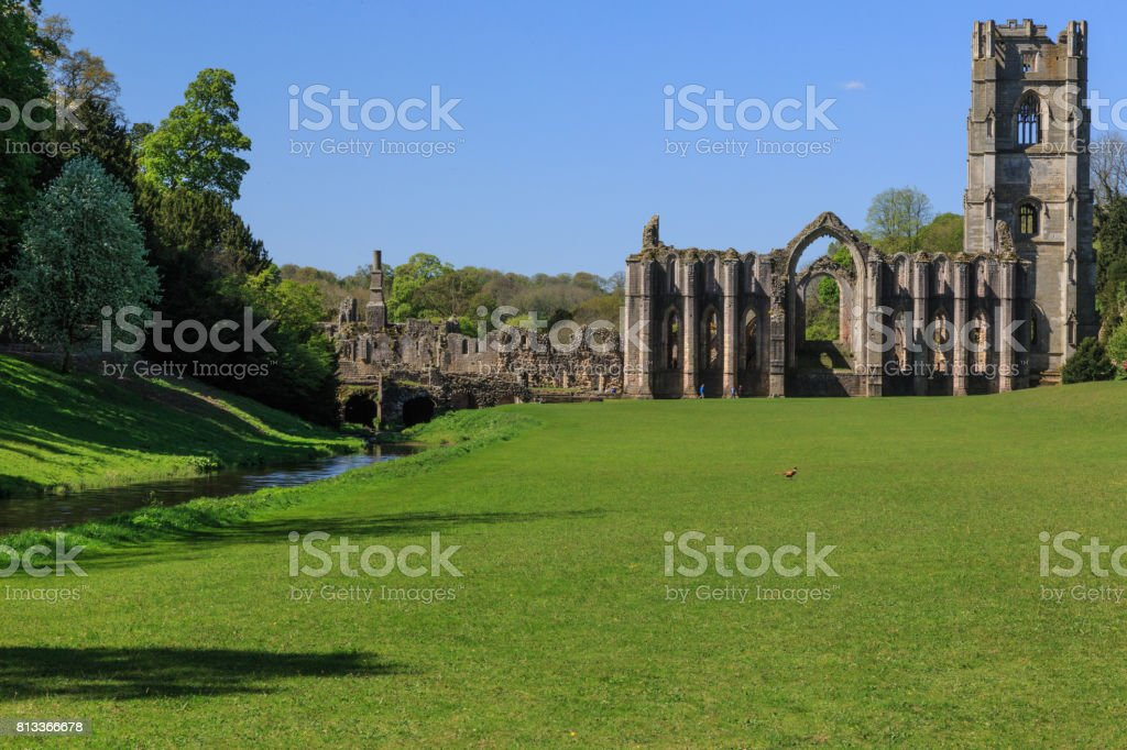 Fountains Abbey ruins, North Yorkshire, UK stock photo