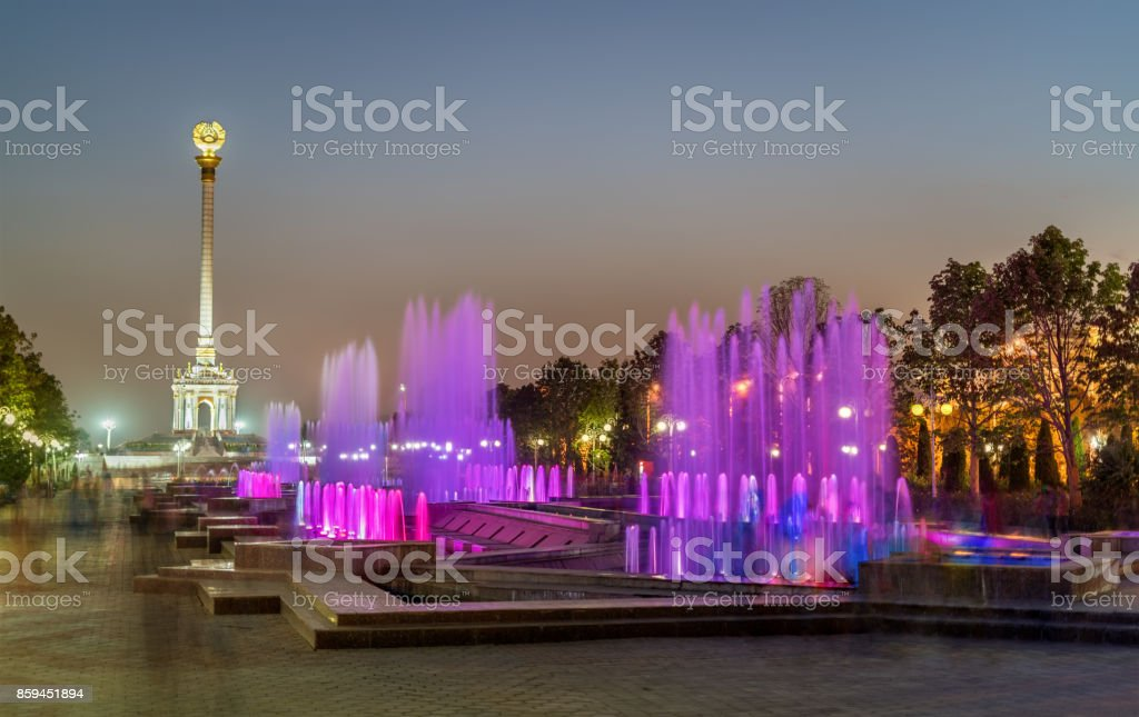 Fountains and Independence Monument in Dushanbe, the Capital of Tajikistan stock photo
