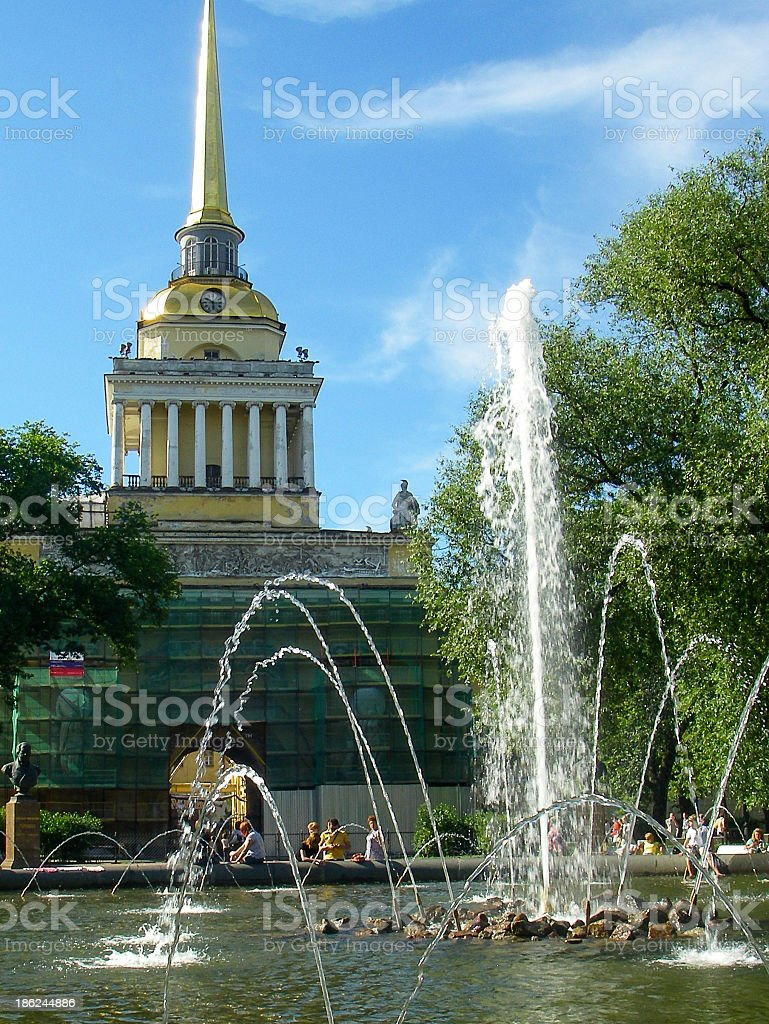 Fountains and the original Admiralty Building Spire St Petersburg. royalty-free stock photo