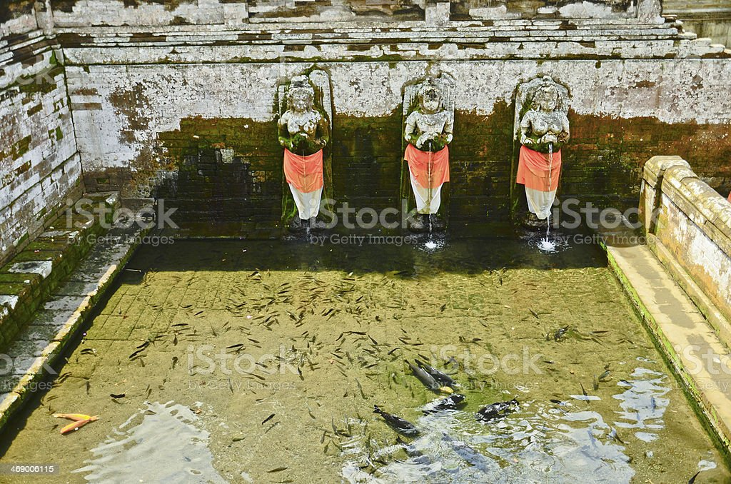Fountains at Goagajah Temple (The Elephant Cave Temple) in Bali, stock photo