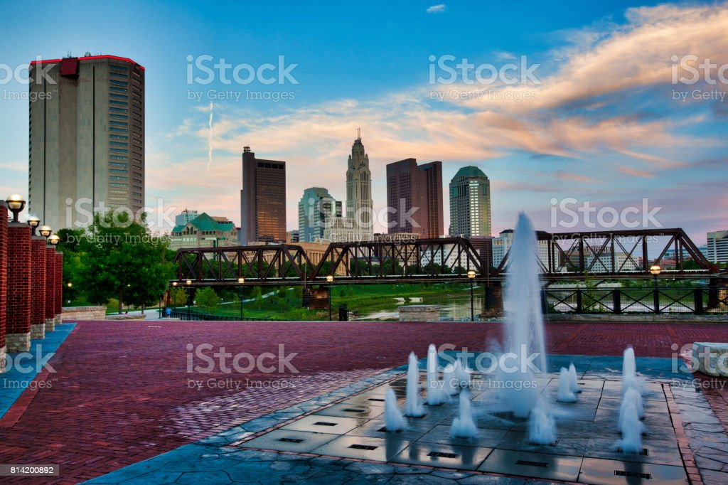 Fountains at Northbank Park in Columbus, Ohio stock photo