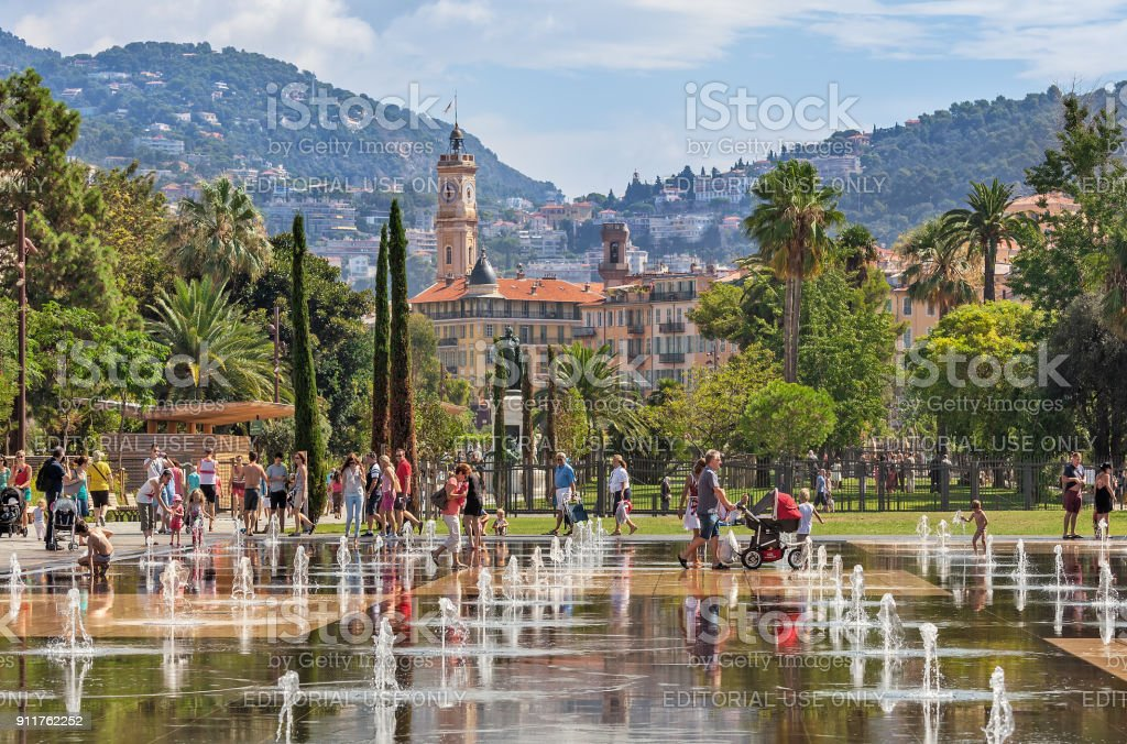Fountains at Promenade du Paillon in Nice, France. stock photo