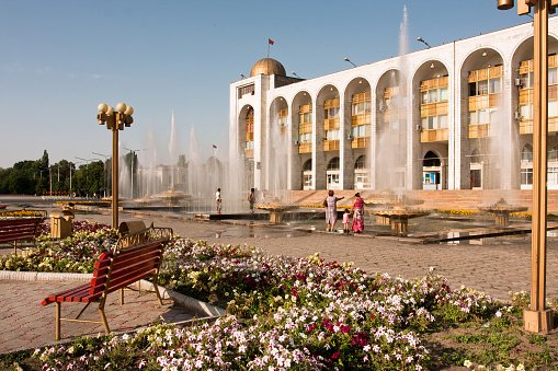 istock Fountains at square Ala-Too in Bishkek, Kyrgyzstan. 603833050