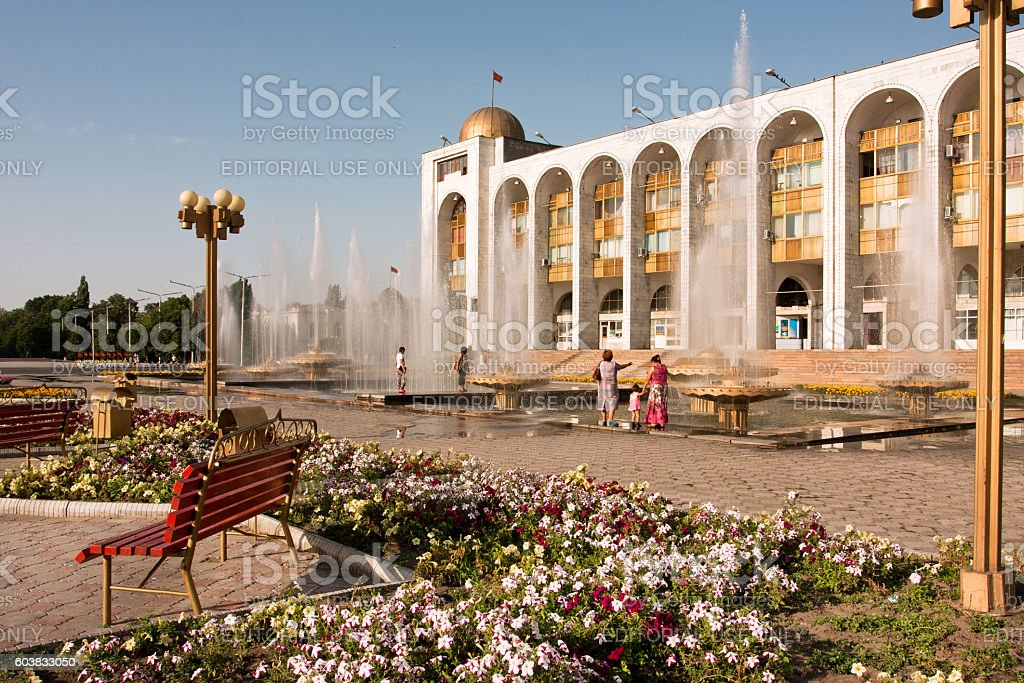 Fountains at square Ala-Too in Bishkek, Kyrgyzstan. stock photo