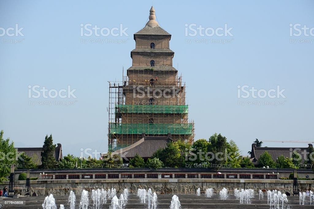 Fountains at the Great Wild Goose Pagoda in Xi'an, Shaanxi stock photo