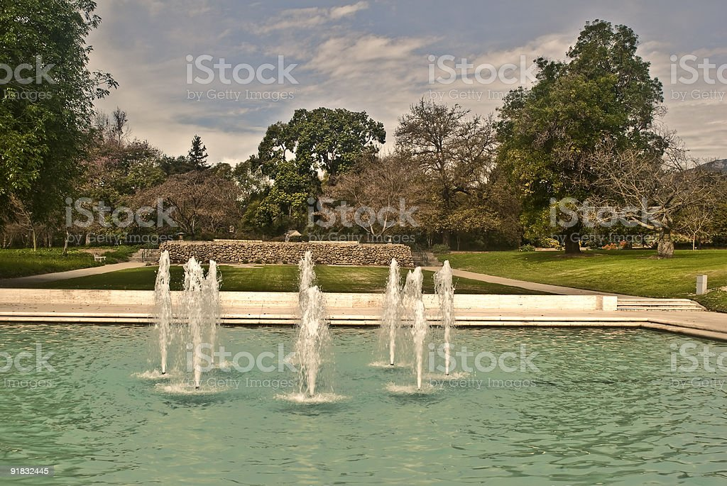 Fountains at the Los Angeles County Arboretum stock photo